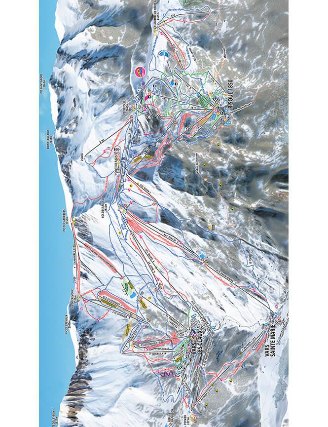 Vars-Risoul Snowboarding Map