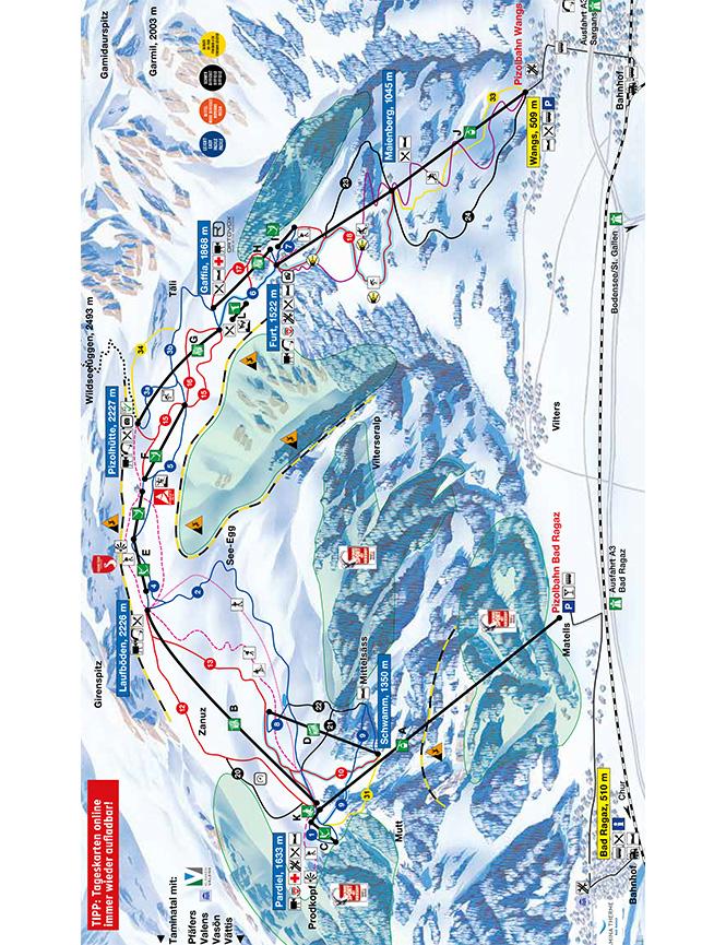 Pizol Snowboarding Map