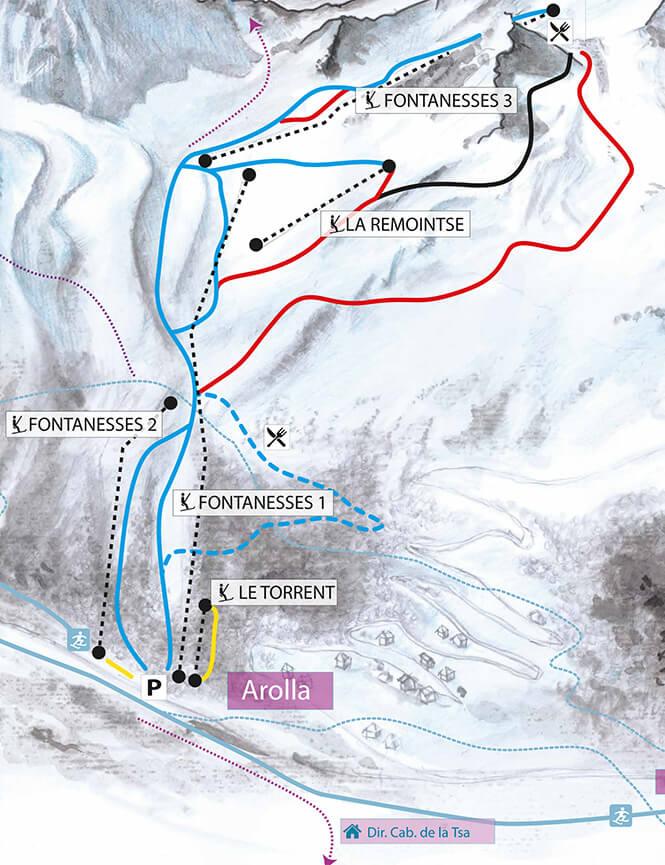 Arolla Snowboarding Map
