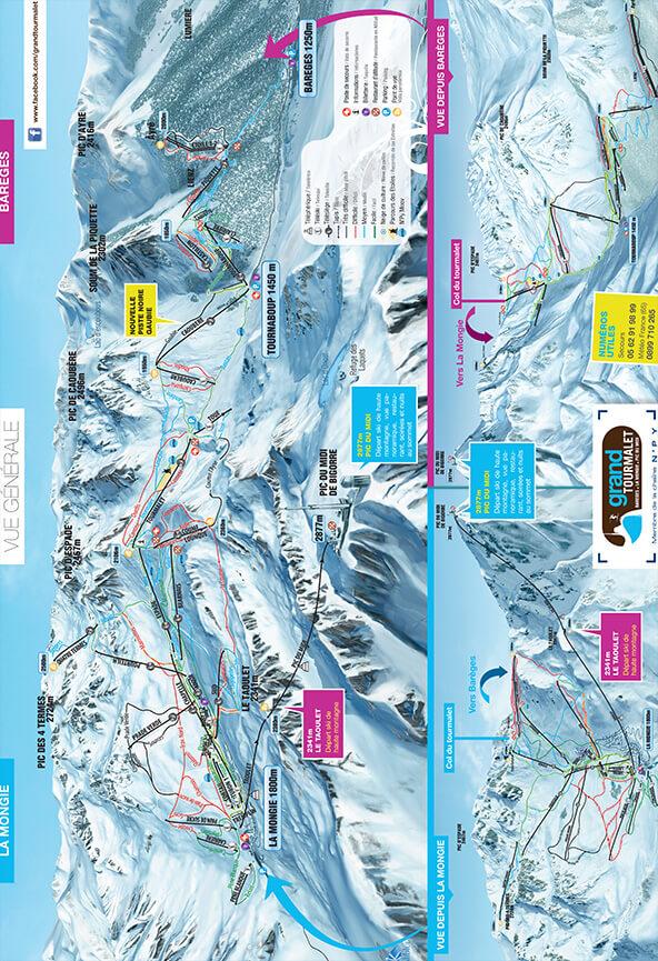 La Mongie-Bareges Snowboarding Map