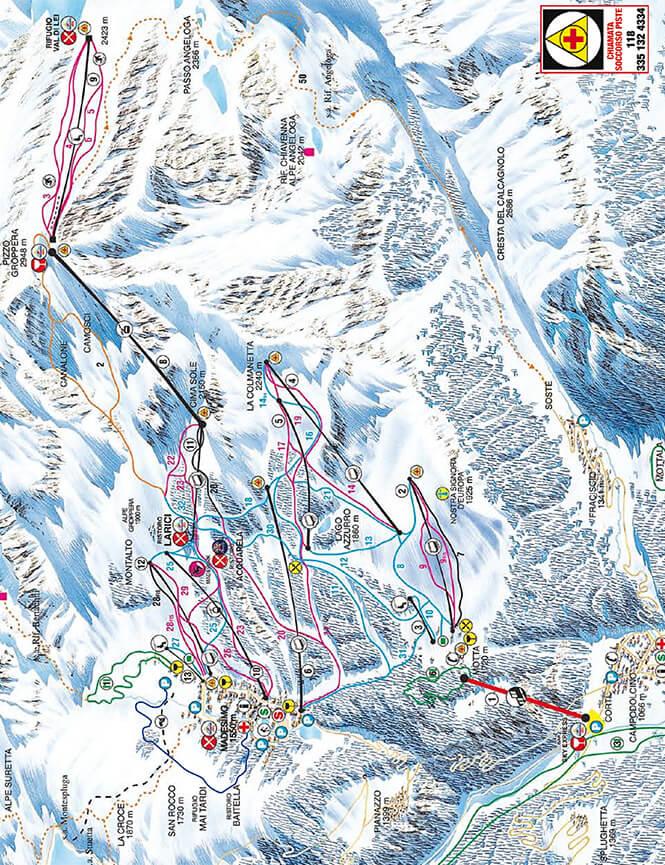 Madesimo-Valchiavenna Snowboarding Map