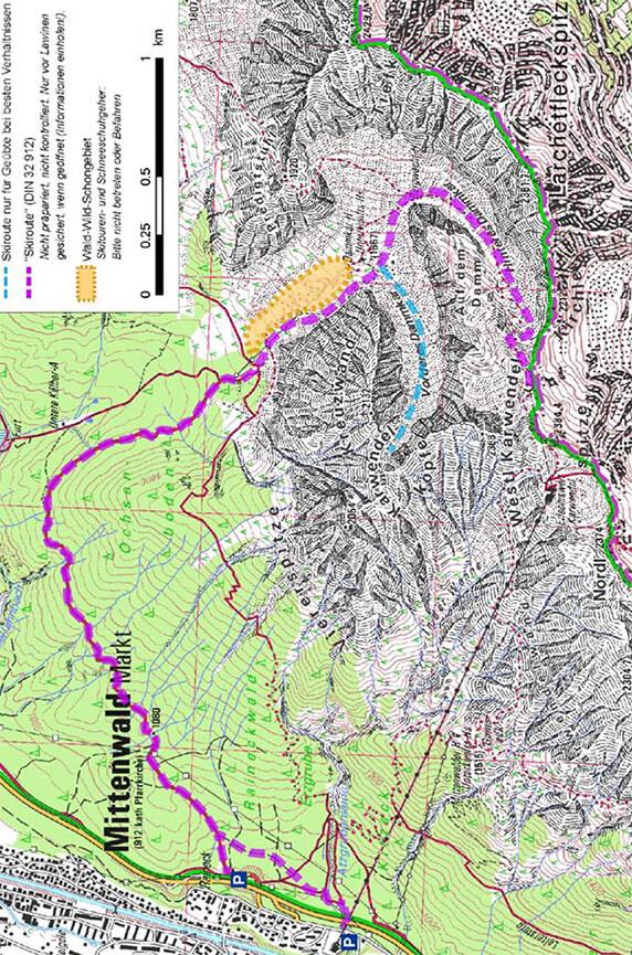Dammkar Ski Route Snowboarding Map