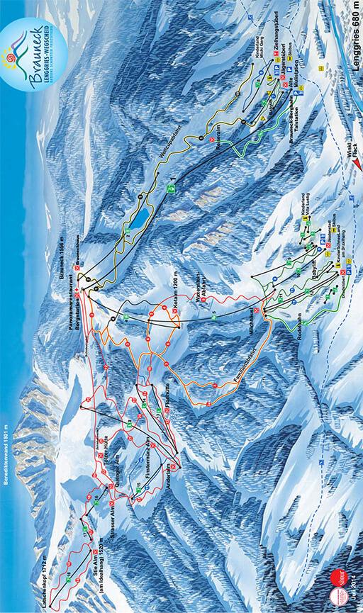 Brauneck Bergbahn Snowboarding Map