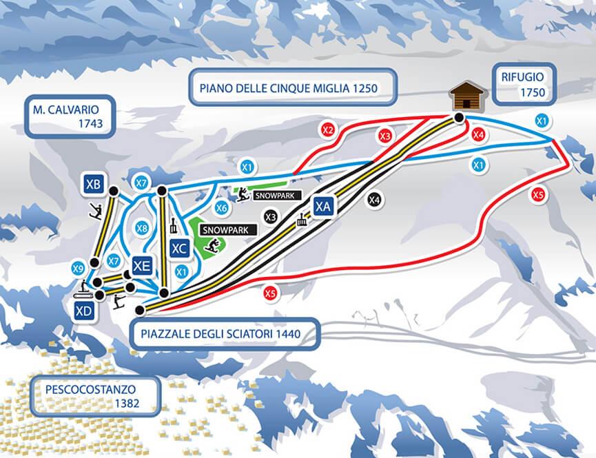 Pescocostanzo Snowboarding Map