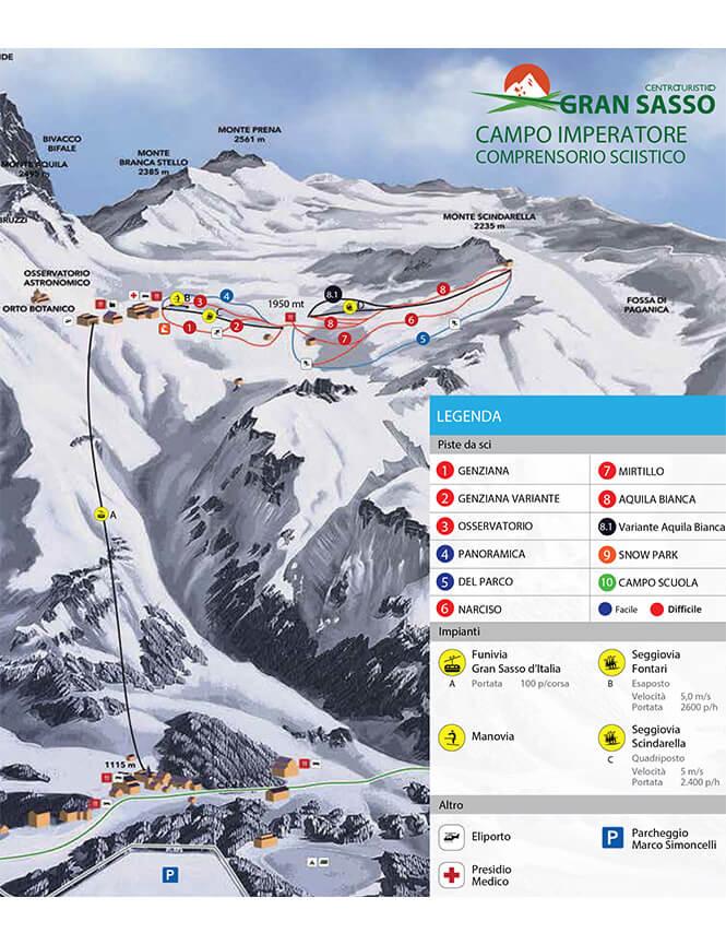 Campo Imperatore Snowboarding Map