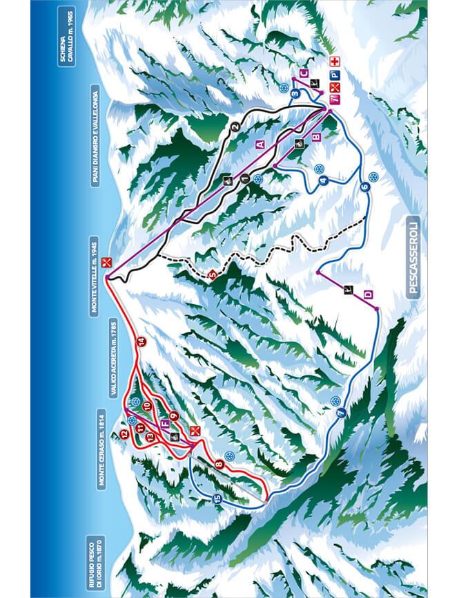 Pescasseroli Snowboarding Map