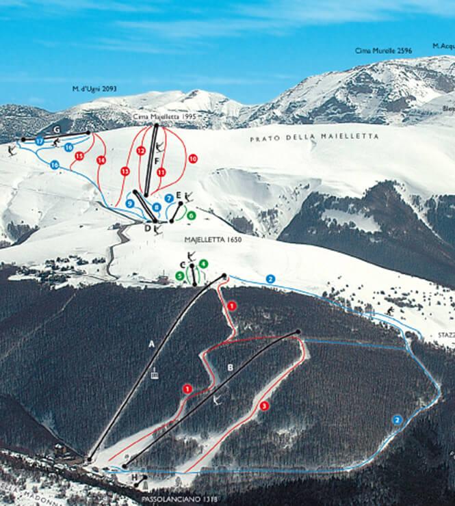 Passolanciano - Maielletta Snowboarding Map