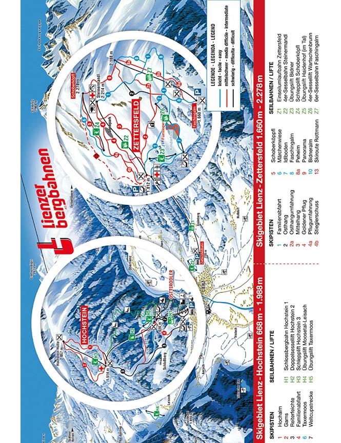 Lienzer Dolomiten Bergbahnen Snowboarding Map