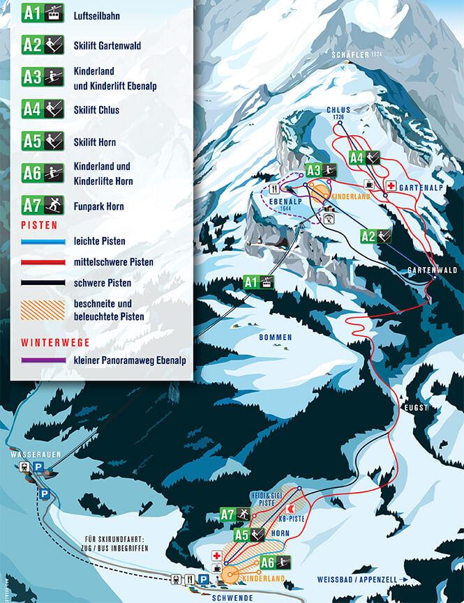 Skigebiet Ebenalp Horn Snowboarding Map