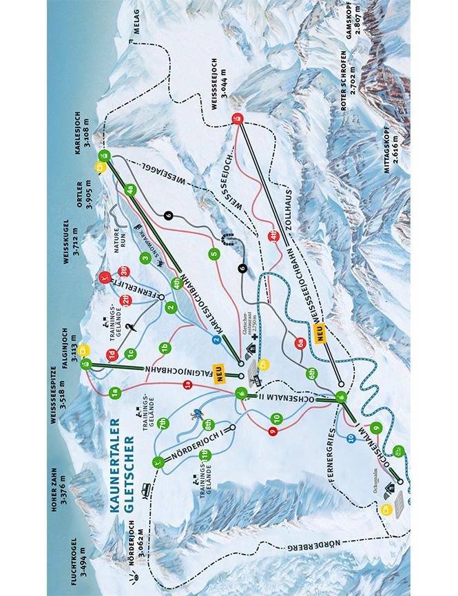 Kaunertal Gletscher Snowboarding Map