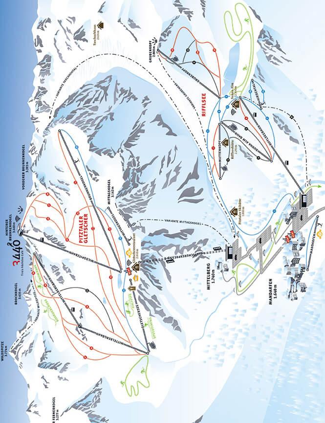 Pitztaler Gletscher Snowboarding Map