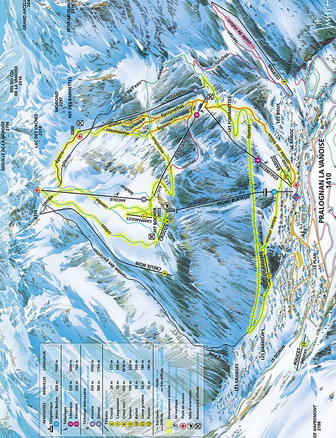 Pralognan-la-Vanoise Snowboarding Map