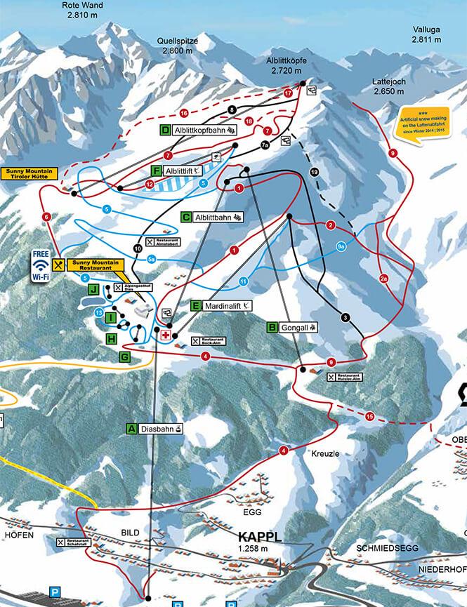 Kappl Snowboarding Map