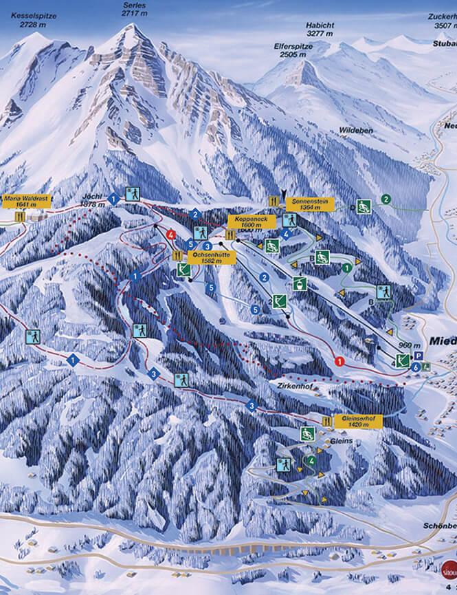 Serlesbahnen Snowboarding Map