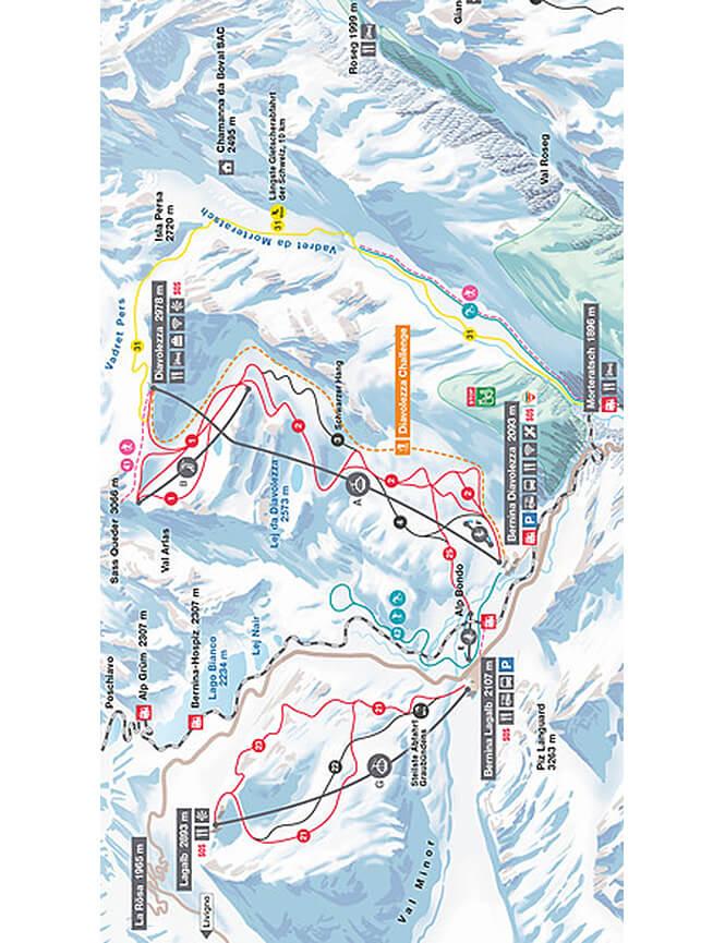 Diavolezza/Lagalb Snowboarding Map