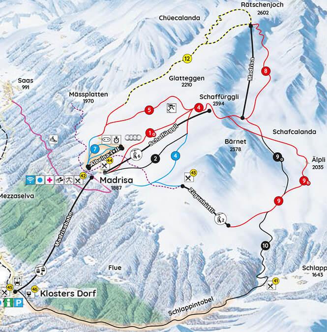 Madrisa Snowboarding Map
