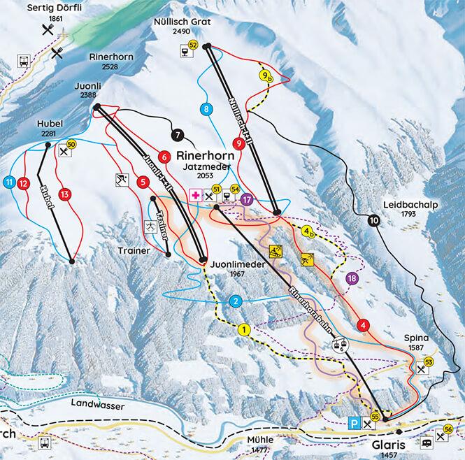 Rinerhorn Snowboarding Map