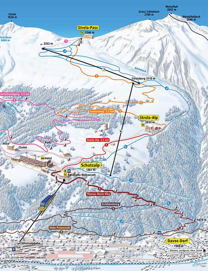 Schatzalp-Strela Snowboarding Map