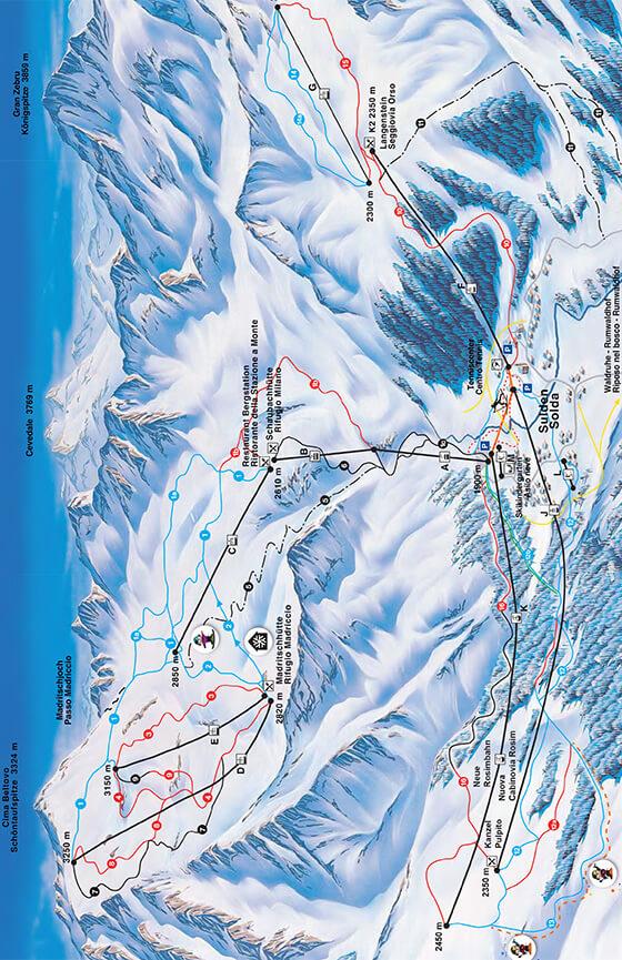 Solda/Sulden Snowboarding Map
