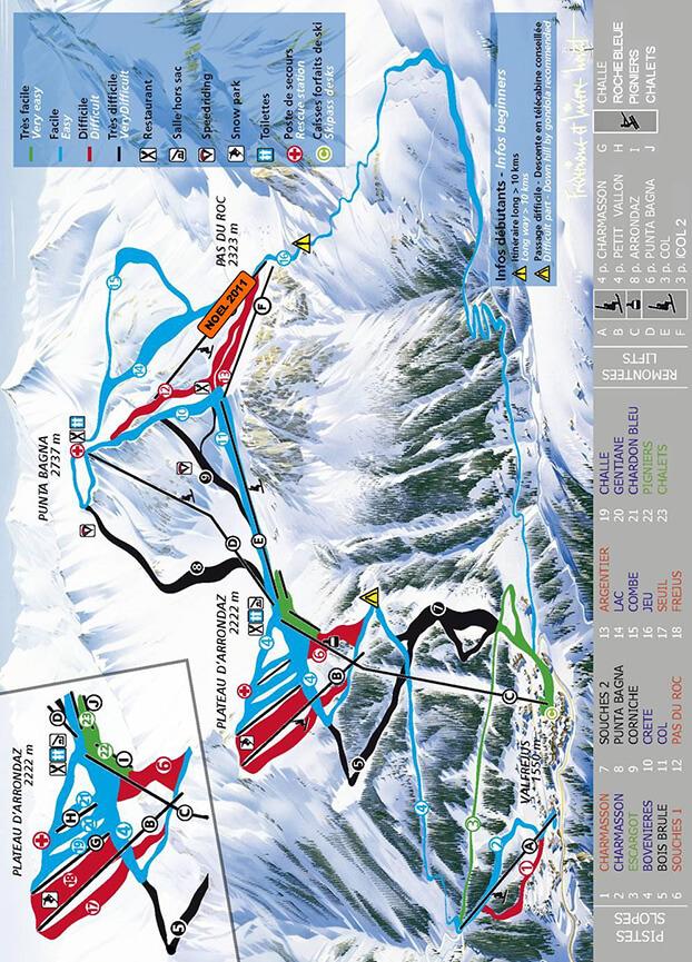 Valfrejus Snowboarding Map
