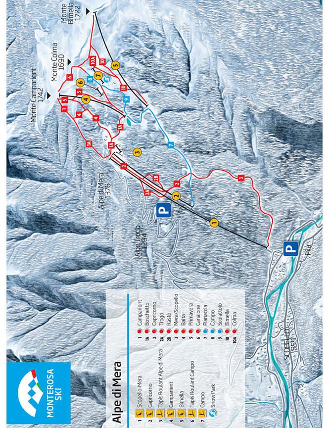 Alpe di Mera Snowboarding Map