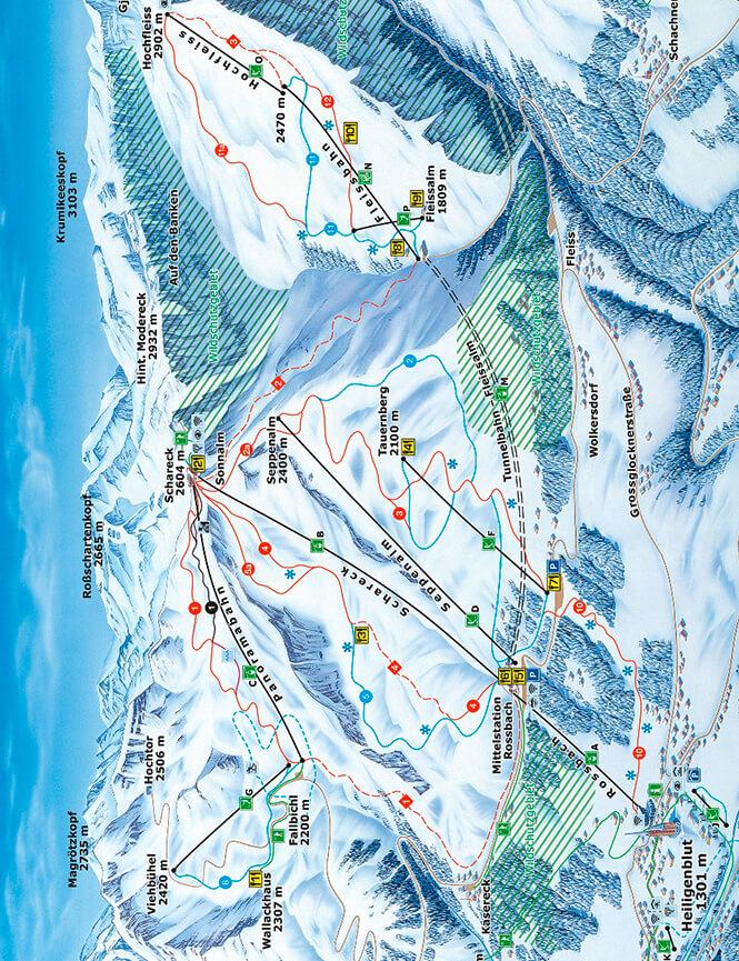 Grossglockner Heilgenblut Snowboarding Map