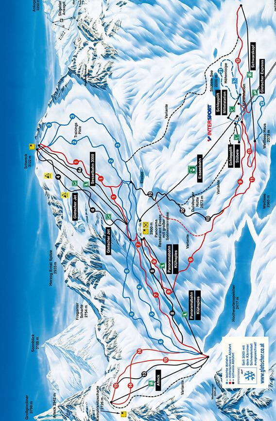 Molltal Glacier Snowboarding Map