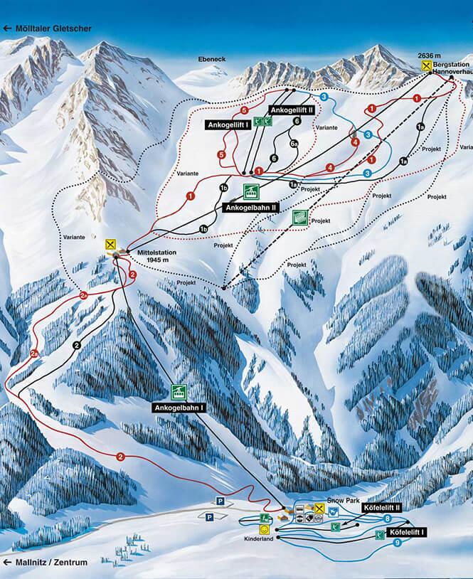 Ankogel Mallnitz Snowboarding Map