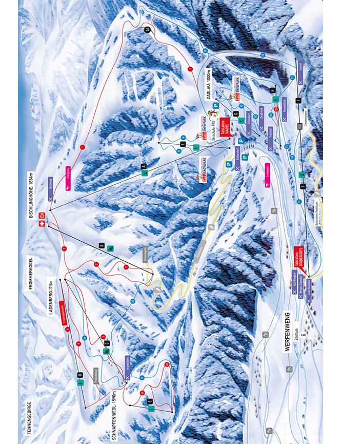 Werfenweng Snowboarding Map