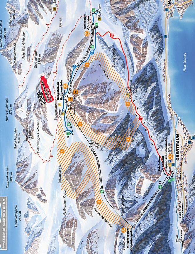 Dachstein Krippenstein Snowboarding Map