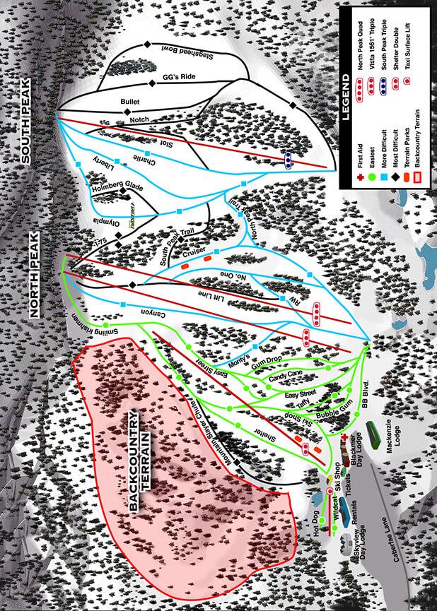 Caberfae Peaks Resort Snowboarding Map