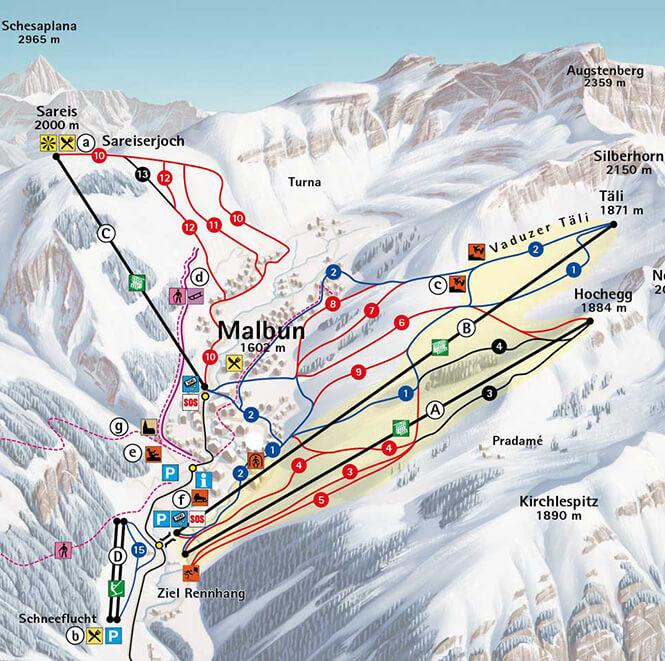 Malbun Snowboarding Map