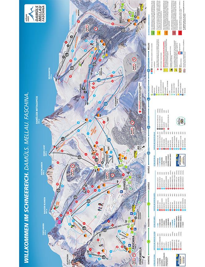 Damuels-Mellau-Faschina Snowboarding Map