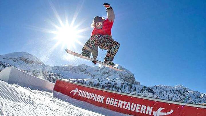 Snowboading In Obertauren, Austria